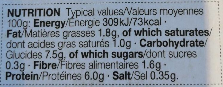 Cabillaud - Informations nutritionnelles - en