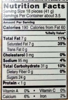 Whoppers - Nutrition facts