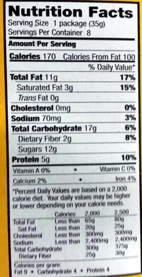 Sweet'n Salty Mix - Nutrition facts