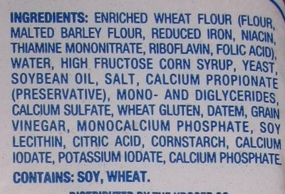 White enriched bread - Ingredients