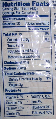 Hamburger enriched buns - Nutrition facts - en