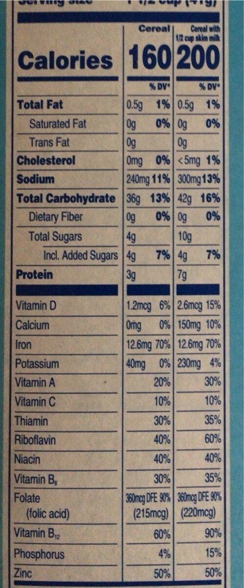 Crispy rice cereal - Nutrition facts - en