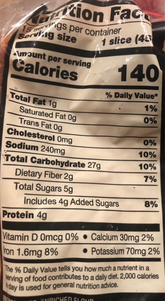 Grain widepan bread - Nutrition facts - en