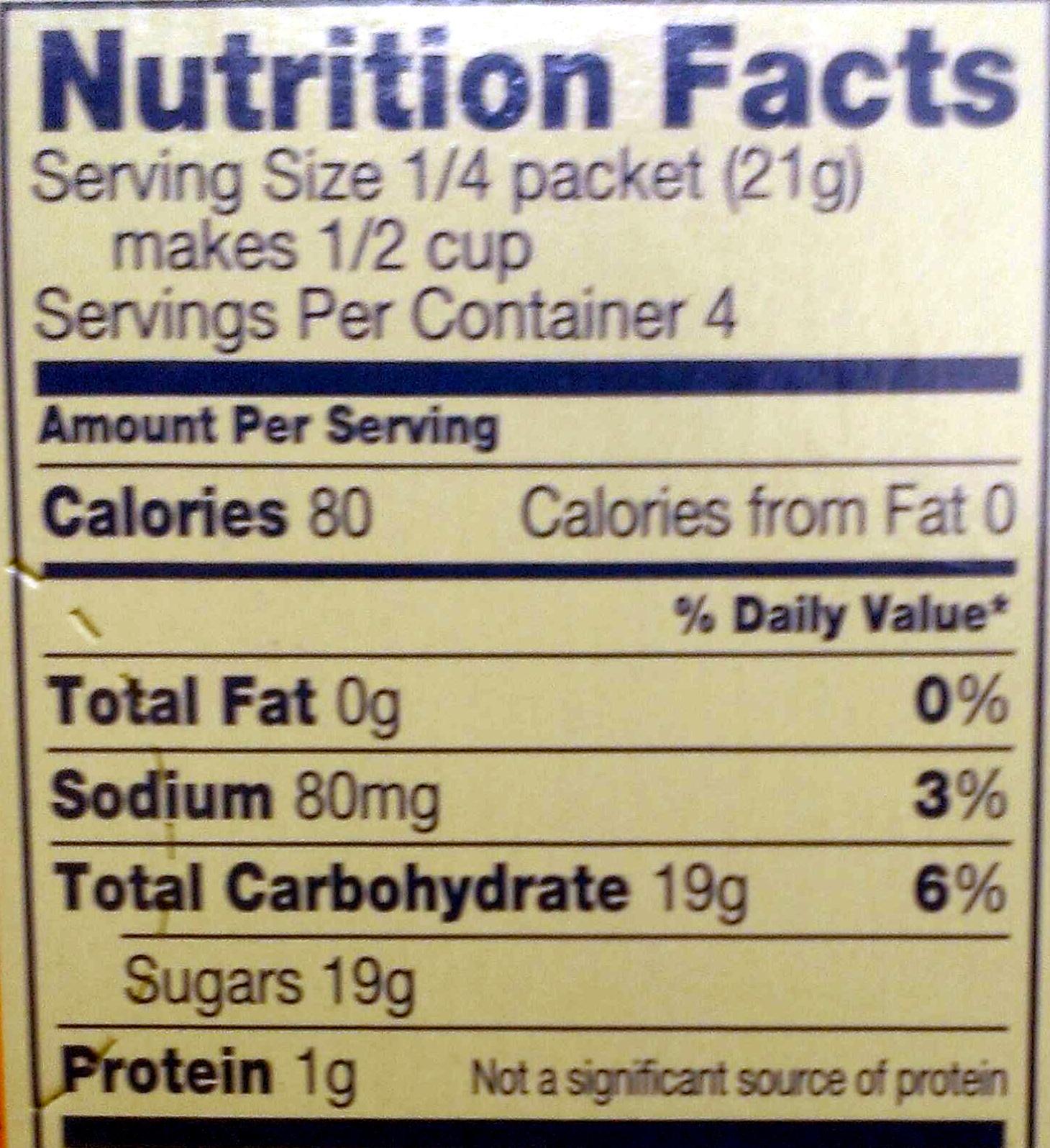 Orange Gelatin Dessert - Nutrition facts