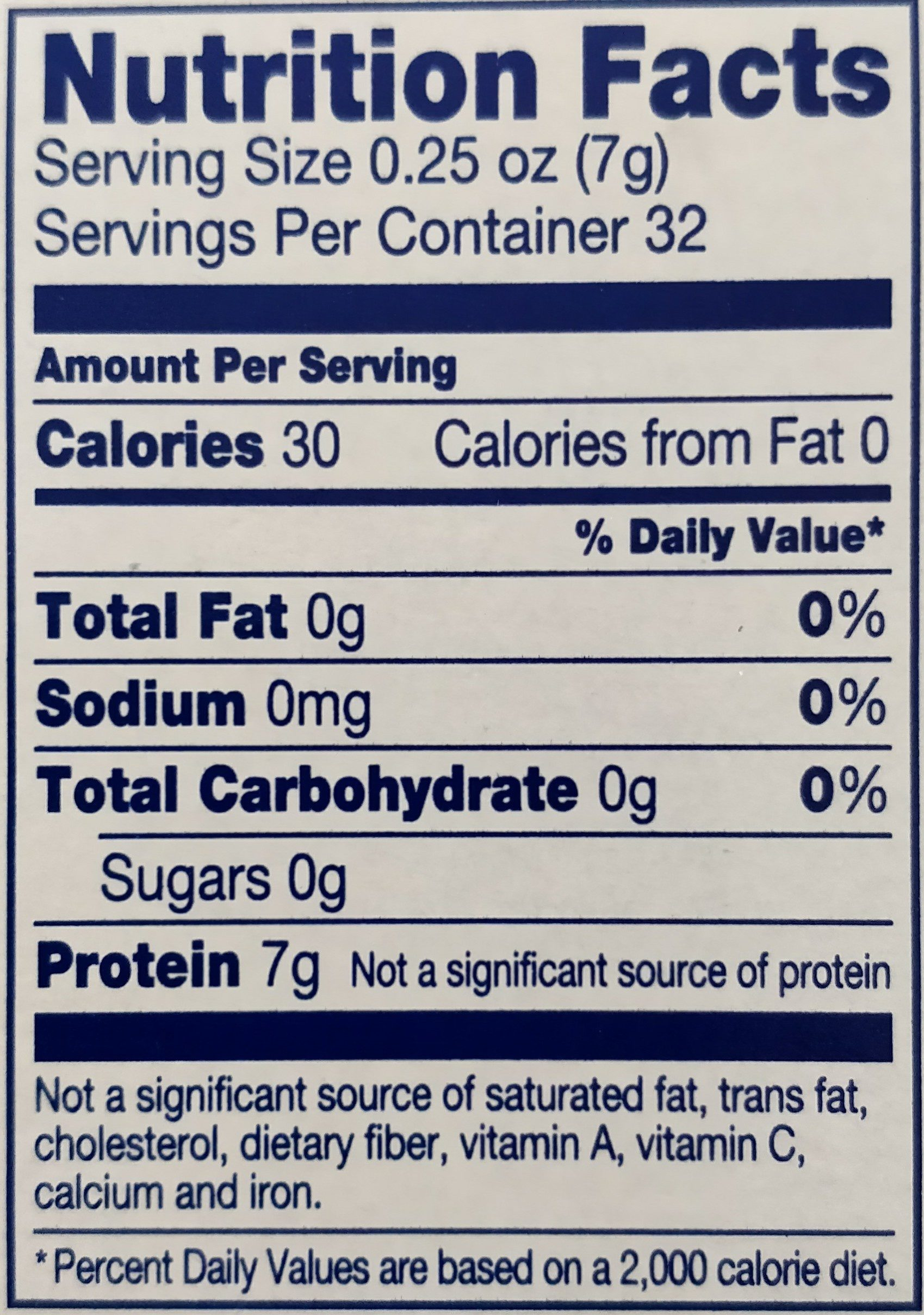 Unflavored Gelatin - Nutrition facts