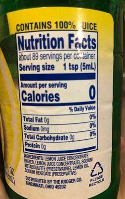 Lemon juice - Nutrition facts