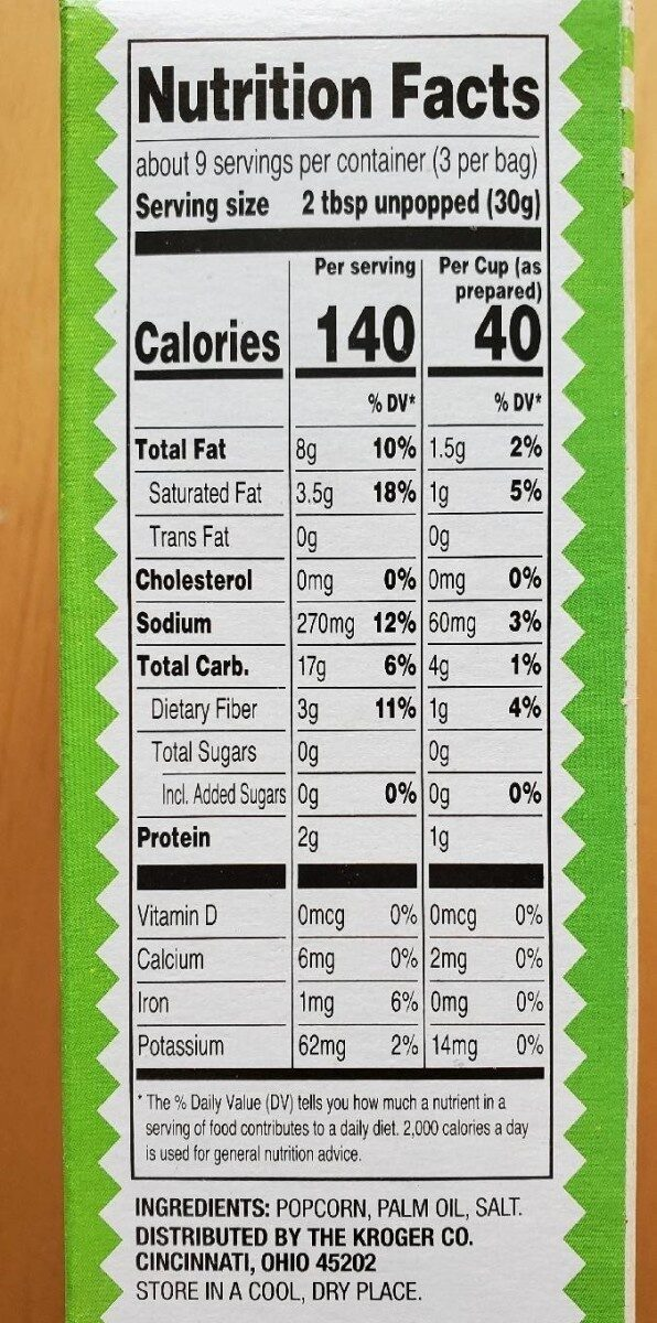 Salted microwave popcorn - Valori nutrizionali - en
