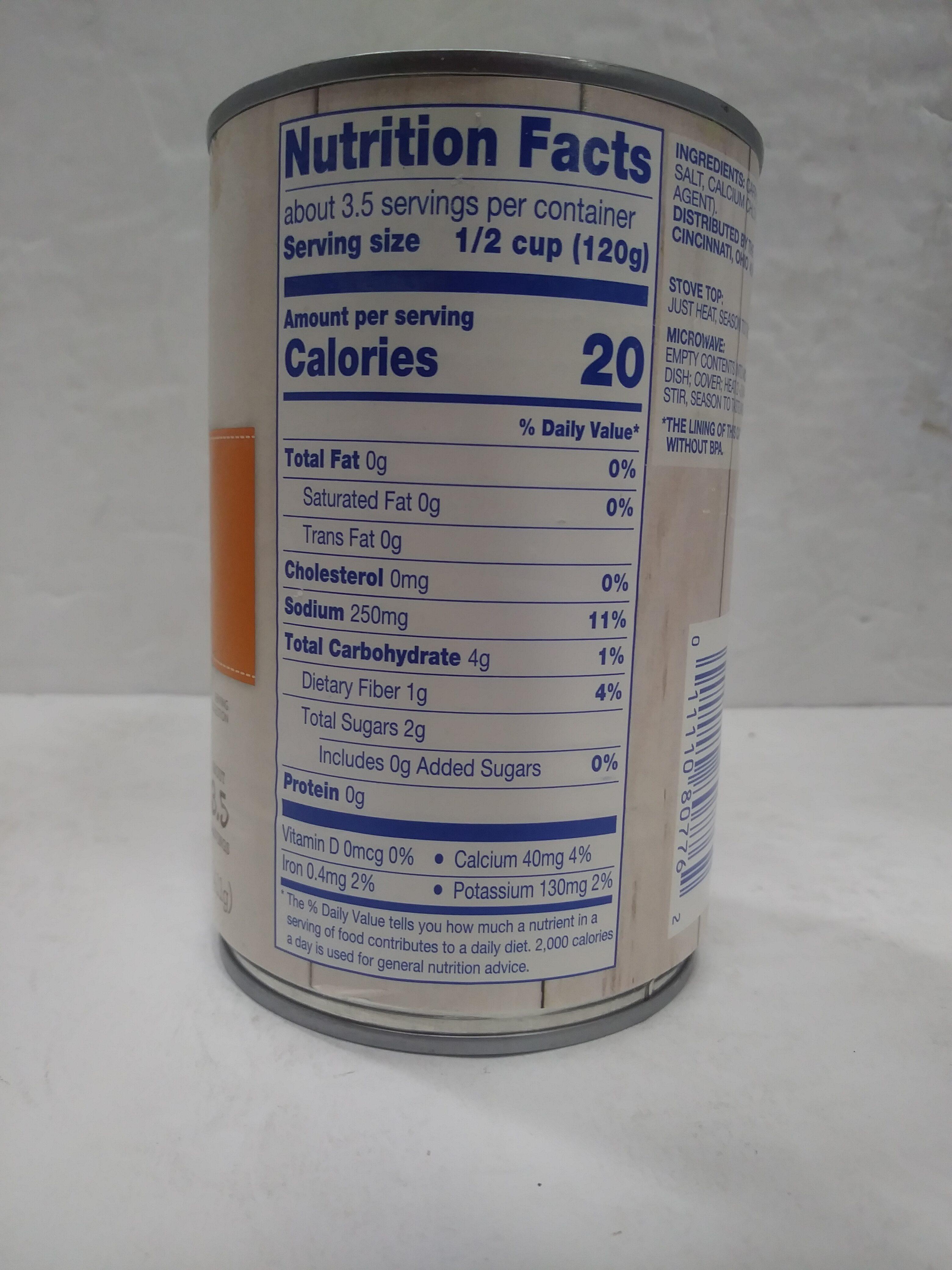 Sliced Carrots - Informations nutritionnelles - en