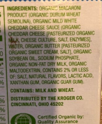Thick white cheddar macaroni & cheese - Nutrition facts - en