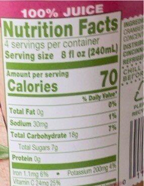 Cranberry juice - Voedingswaarden - en