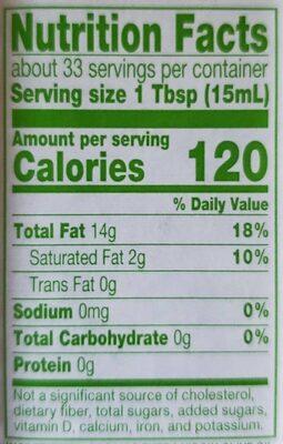 Unfiltered Extra Virgin Olive Oil - Informations nutritionnelles - en
