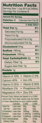 Unsweetened Almond Milk - Nutrition facts