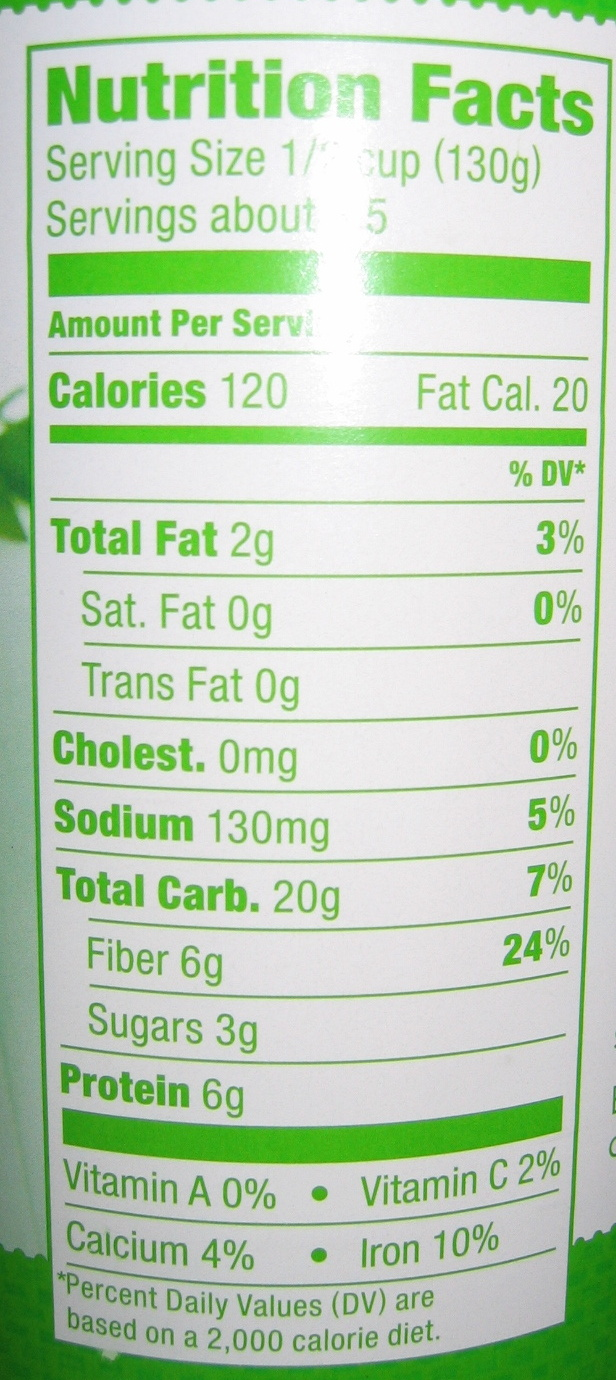 Garbanzo Beans - Nutrition facts