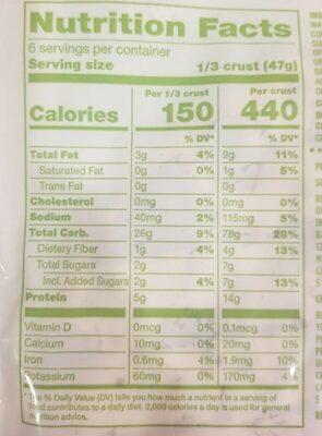 Classic thin & crispy vegan pizza crusts - Nutrition facts - en