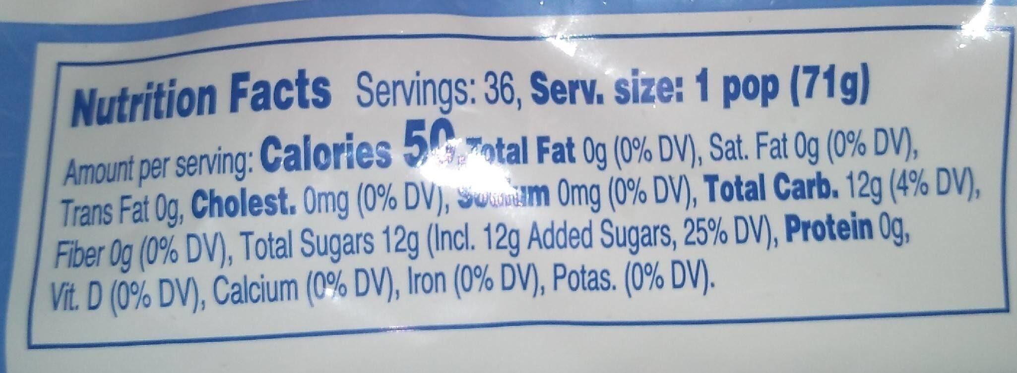 Freeze pops - Nutrition facts - en