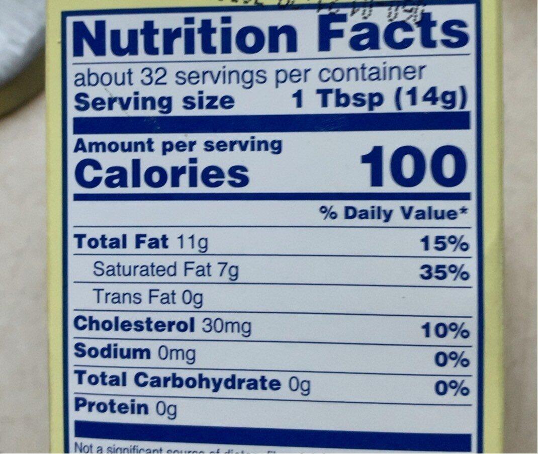 Unsalted butter sticks - Nutrition facts - en