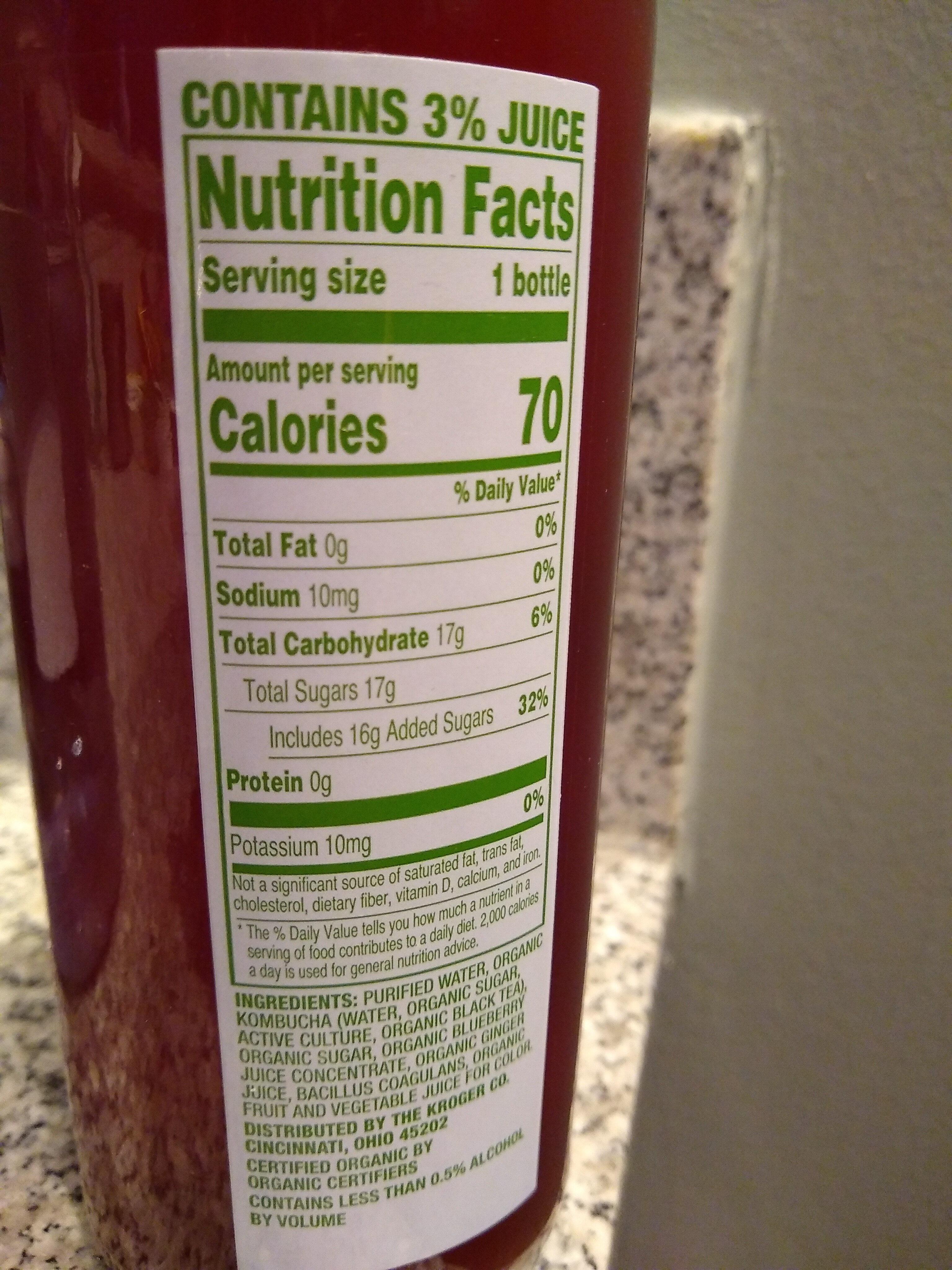 Blueberry Ginger kombucha - Informations nutritionnelles - en