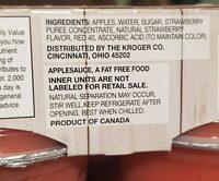 Kroger strawberry applesauce - Ingredients - en