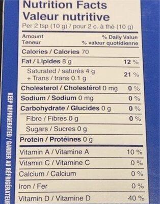 Unsalted plant based oils sticks - Informations nutritionnelles - fr