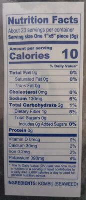 Dried seaweed - Nutrition facts - en