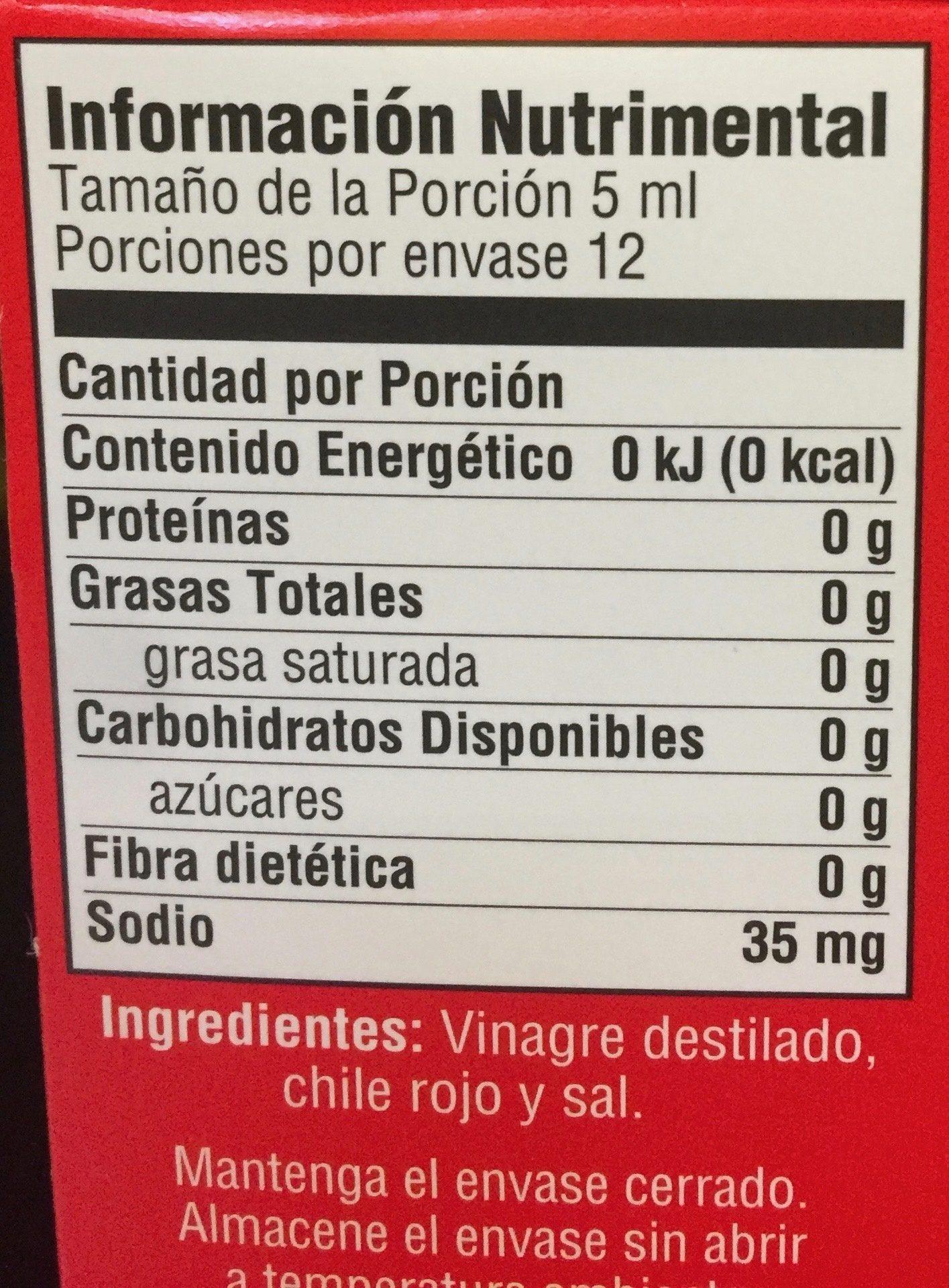 Tabasco Salsa picante - Informations nutritionnelles