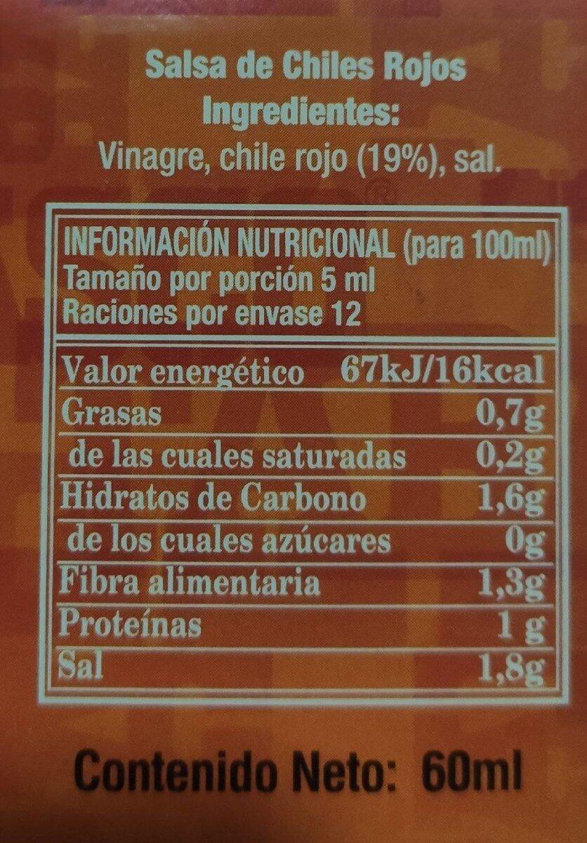 Tabasco sauce - Información nutricional - es