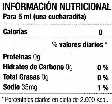 """Salsa de chiles picantes """"Tabasco"""" - Información nutricional"""