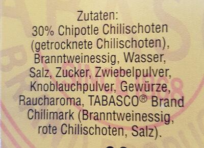 Tabasco Chipotle - Inhaltsstoffe - de