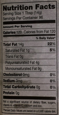 100% Pure Canola Oil - Nutrition facts