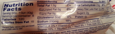 8 Hamburger Buns - Nutrition facts