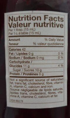 Confiture de framboise - Informations nutritionnelles - fr