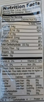 Tims extra thick and crunchy jalapeno potato chips - Nutrition facts - en