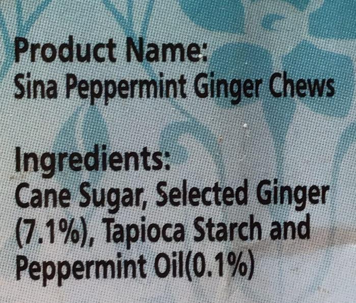 新亞姜糖 薄荷味 - Ingredients - en