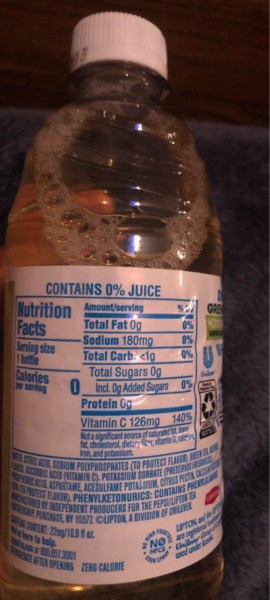 Lipton Green Tea - Nutrition facts - en