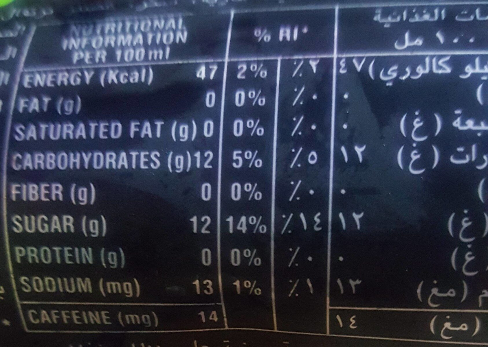 Mountain dew - Nutrition facts - fr