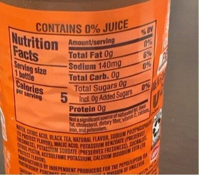 Diet ice tea peach - Nutrition facts