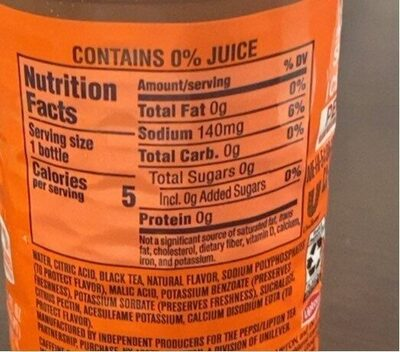 Diet ice tea peach - Nutrition facts - en