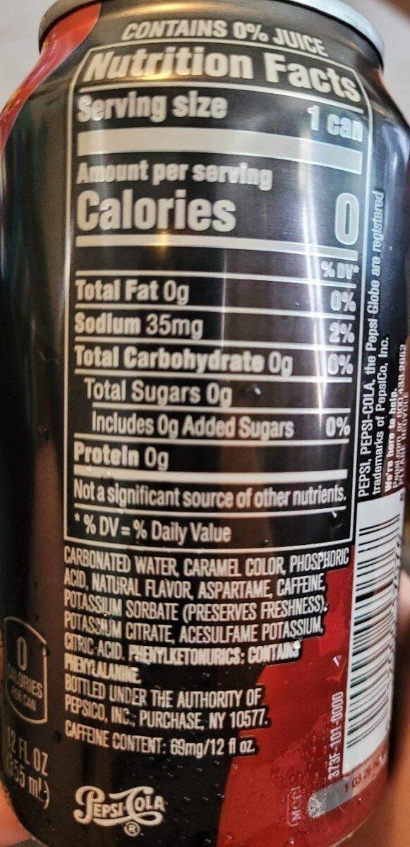 Zero Sugar Wild Cherry Pepsi - Valori nutrizionali - en