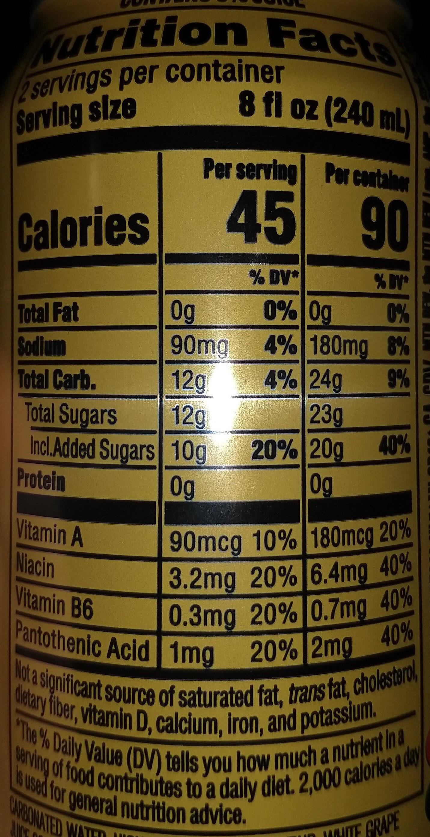 Charged tropical strike flavored sparkling juice beverage, charged tropical strike - Nutrition facts - en