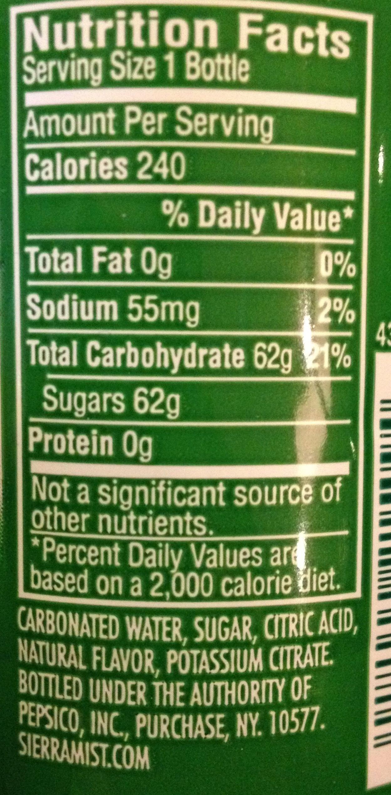 Sierra mist, flavored soda, lemon-lime, lemon-lime - Nutrition facts - en