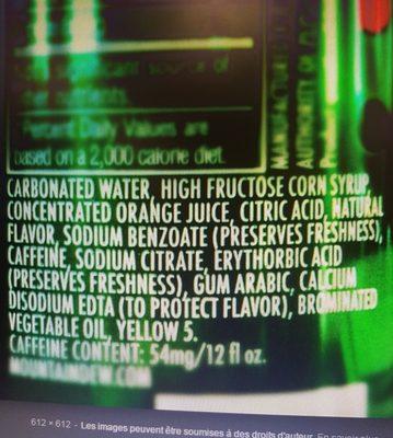 Mountain dew - Ingredients