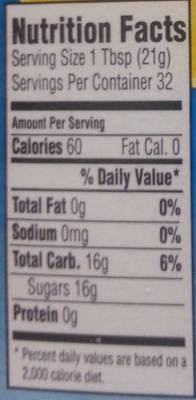 Organic Blue Agave - Nutrition facts