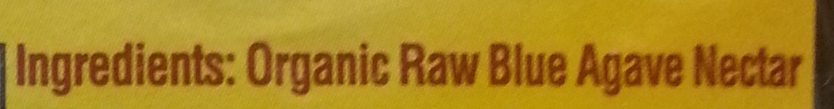 Organic Raw Blue Agave - Ingredients