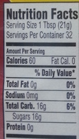 Organic Raw Blue Agave - Nutrition facts