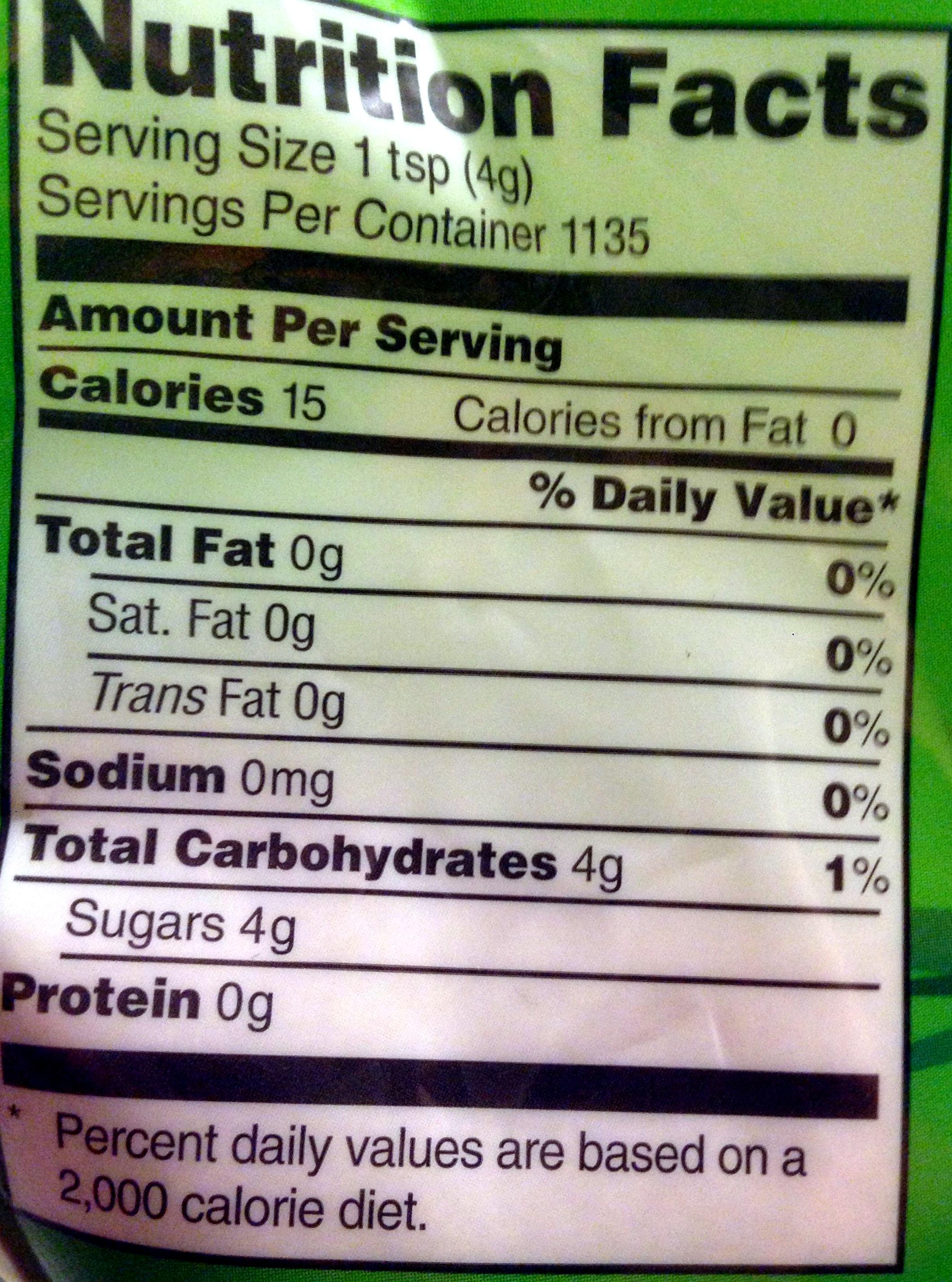 Organic Sugar - Voedingswaarden - en