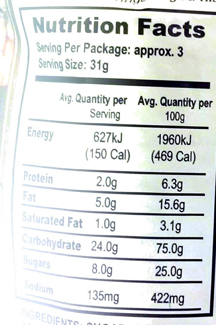 Caramel Popcorn - Nutrition facts