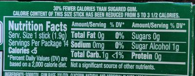 Gum spearmint sugar free1x14 pc - Nutrition facts - en