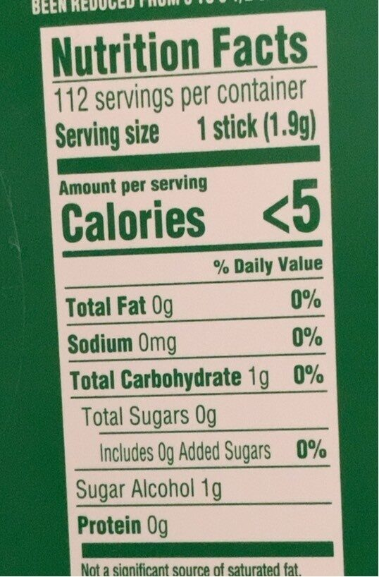 Spearmint gum pkgs - Nutrition facts - en