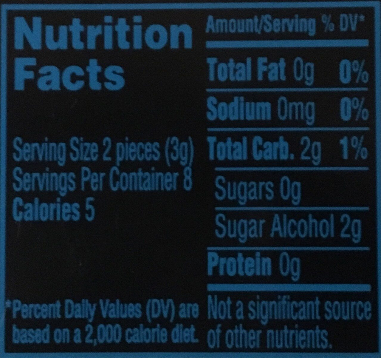 Chewing Gum Dentyne Menthe Glaciale - Nutrition facts