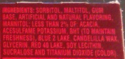 Dentyne fire - Ingredients